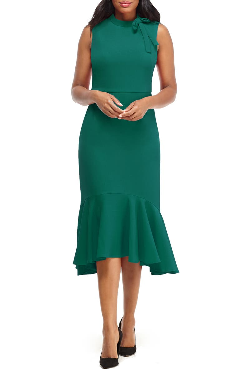 MAGGY LONDON Bow Detail Flounce Midi Dress, Main, color, 301