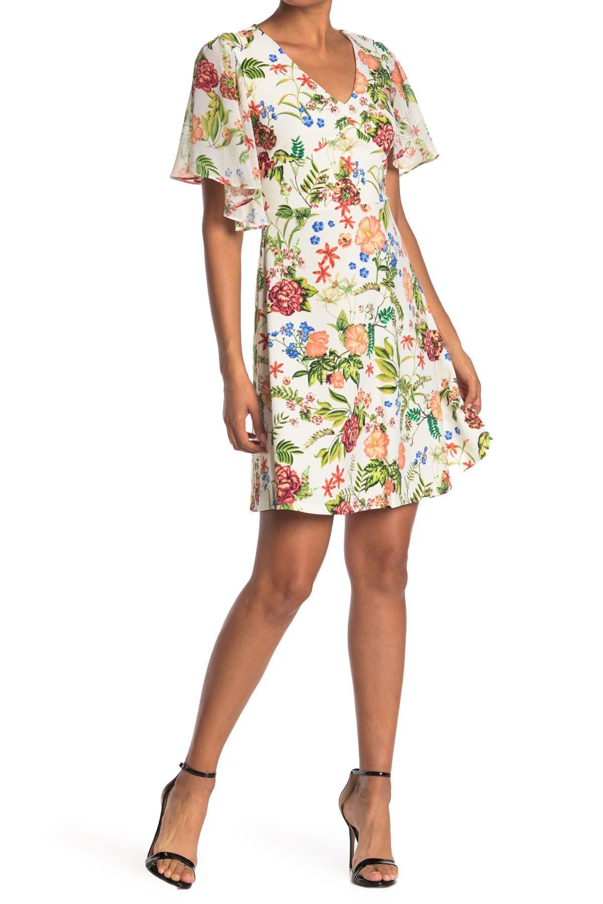 Image of TASH + SOPHIE Floral Flutter Sleeve Dress