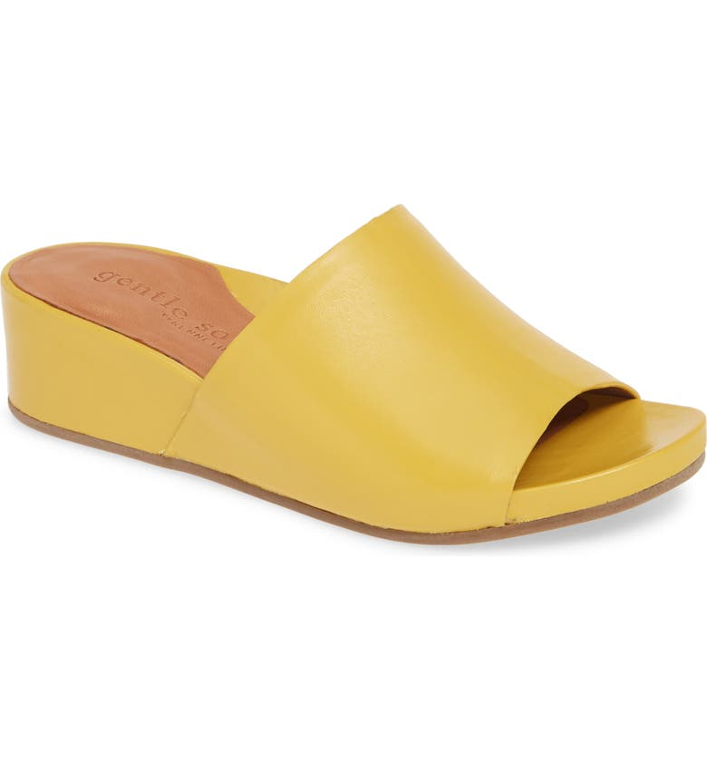 GENTLE SOULS SIGNATURE Gentle Souls by Kenneth Cole Gisele Wedge Slide Sandal, Main, color, PALE YELLOW LEATHER