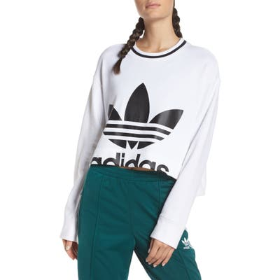 Adidas Originals Crop Logo Graphic Sweater, White