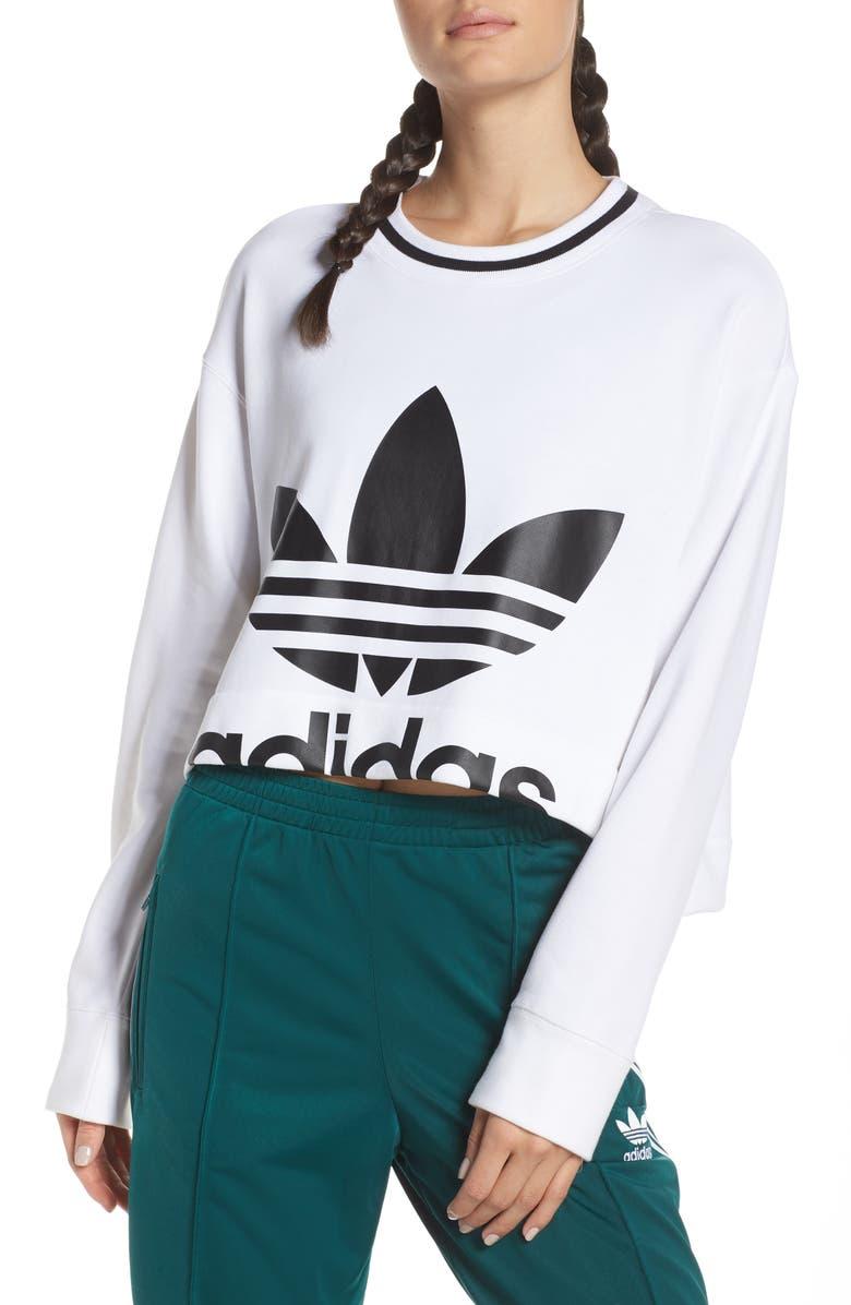 ADIDAS ORIGINALS Crop Logo Graphic Sweater, Main, color, WHITE