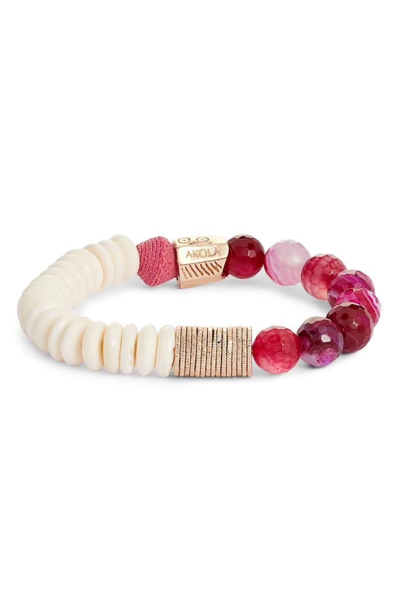 AKOLA Beaded Bracelet, Main, color, PINK/ WHITE