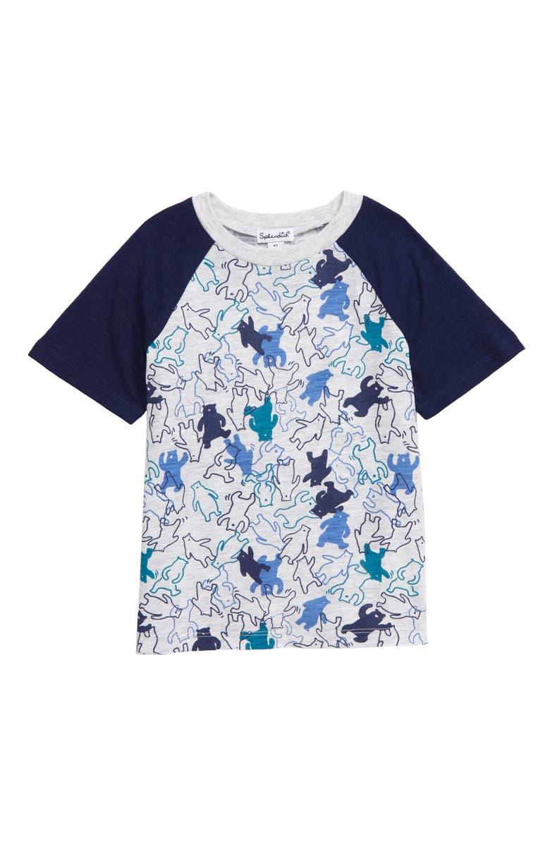 SPLENDID Dancing Bear Print T-Shirt, Main, color, INDIGO SKY