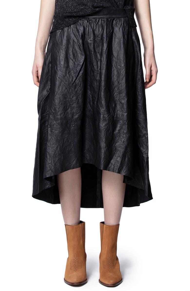 ZADIG & VOLTAIRE Joslin Crinkled Leather High/Low Skirt, Main, color, NOIR