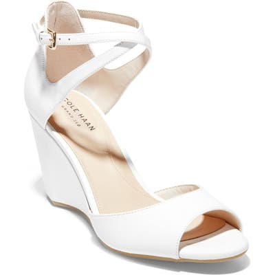 Cole Haan Sadie Open Toe Wedge Sandal, White
