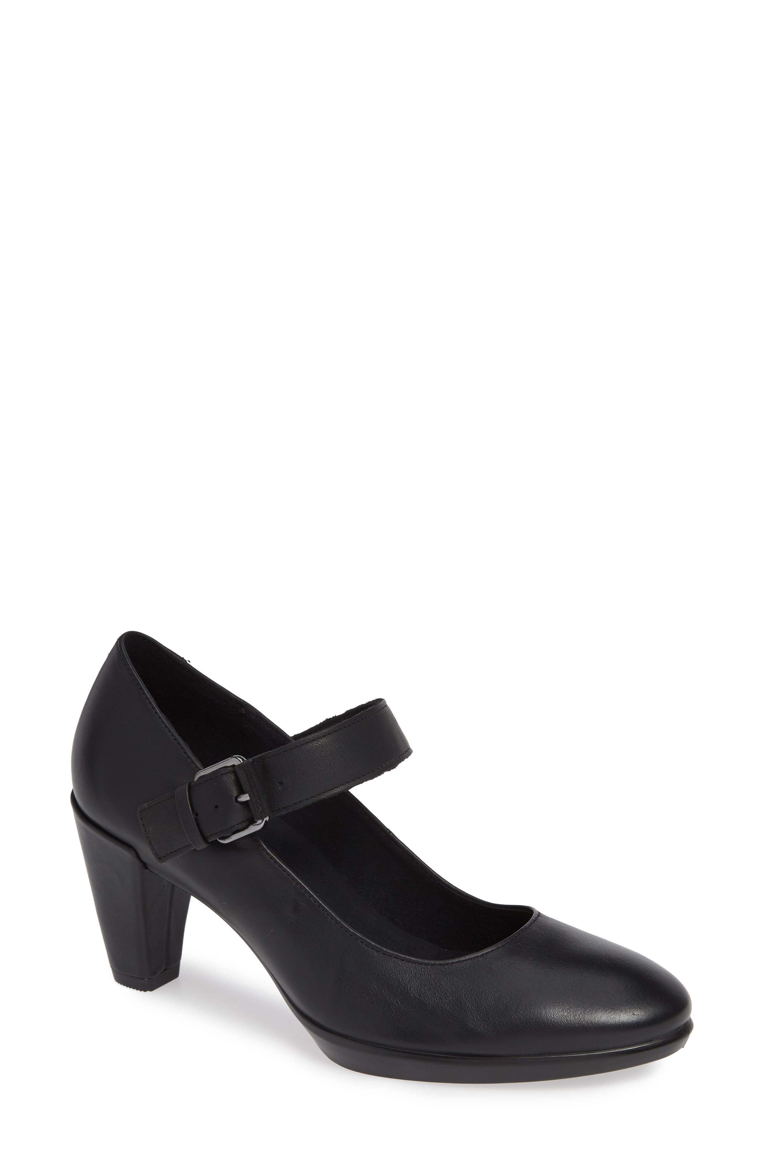 Shape 55 Plateau Mary Jane Pump, Main, color, BLACK LEATHER
