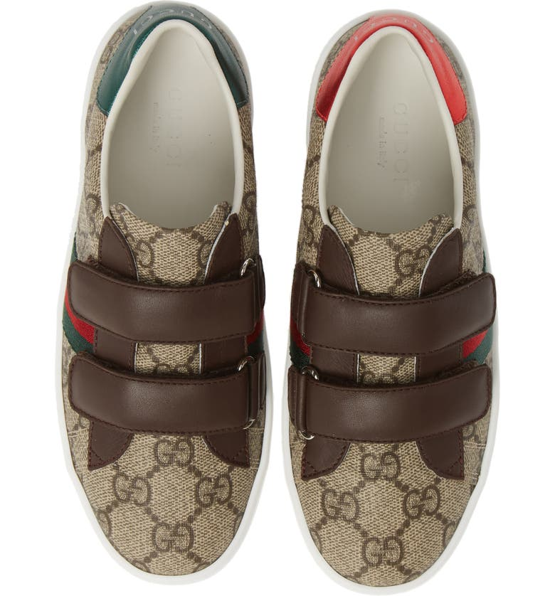 GUCCI New Ace Monogram Sneaker, Main, color, BEIGE