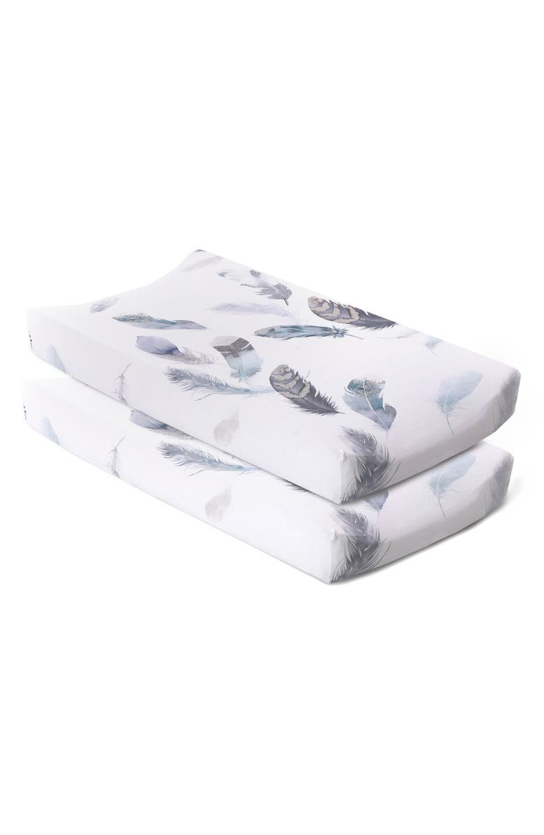 OILO Featherly Print 2-Pack Changing Pad Covers, Main, color, FEATHERLY
