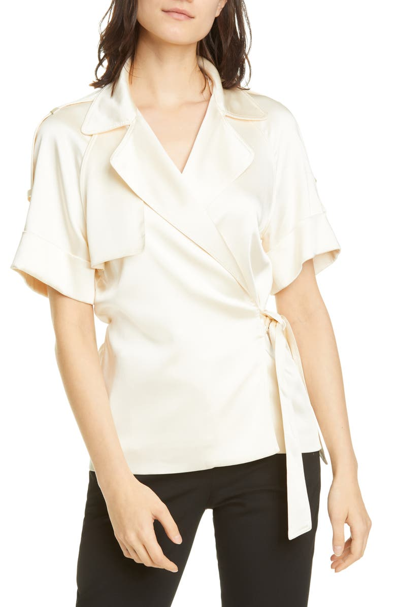 JONATHAN SIMKHAI Kelsey Satin Wrap Shirt, Main, color, ECRU