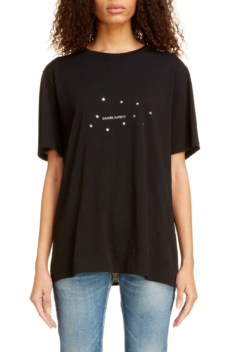 SAINT LAURENT Small Logo Print Oversize Tee, Main, color, NOIR/ ARGENT