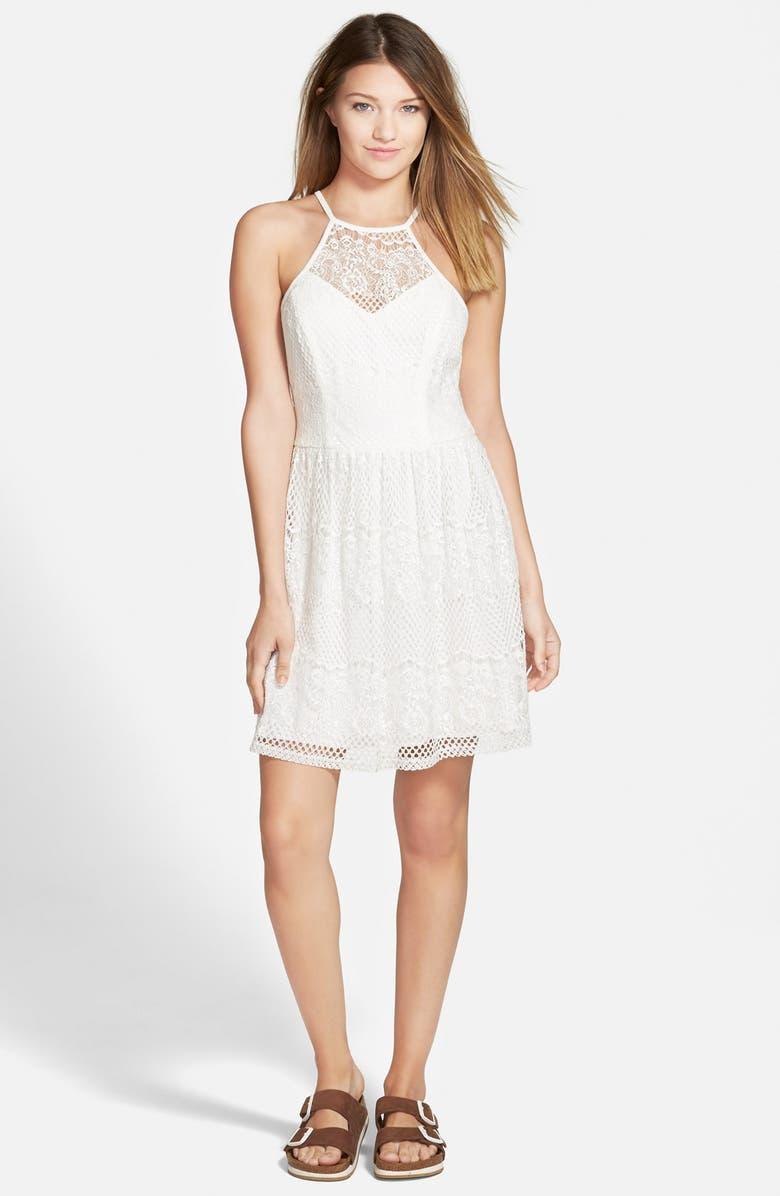 TRIXXI Lace High-Neck Skater Dress, Main, color, 900