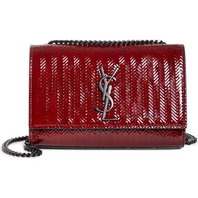 Saint Laurent Small Kate Chevron Patent Calfskin Crossbody Bag - Red
