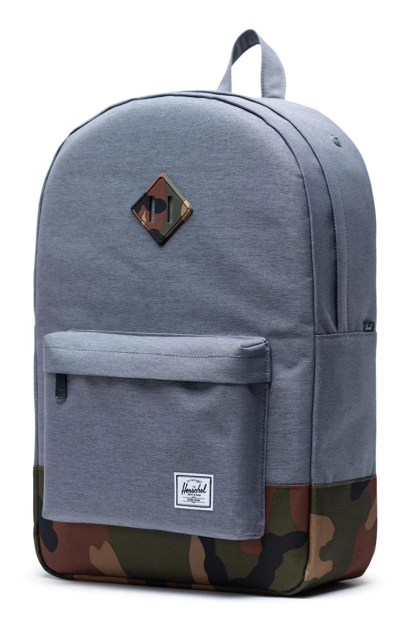 ,                             Heritage Camo Trim Backpack,                             Alternate thumbnail 6, color,                             GREY CROSSHATCH/WOODLAND CAMO