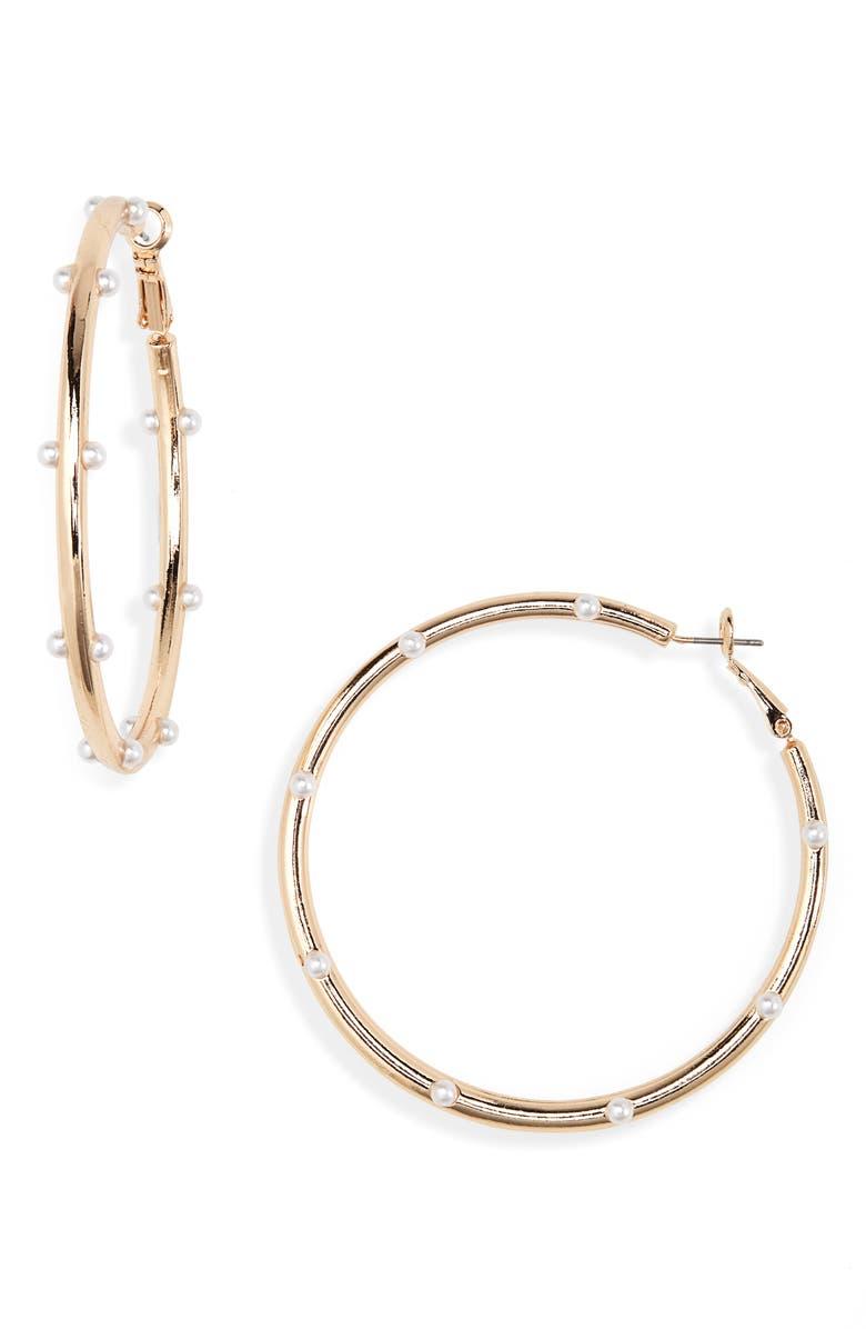 BP. Imitation Pearl Hoop Earrings, Main, color, 100
