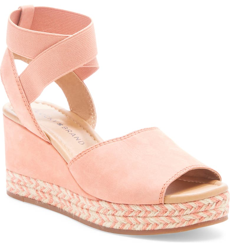 LUCKY BRAND Bettanie Espadrille Wedge Sandal, Main, color, VINTAGE PEAR LEATHER