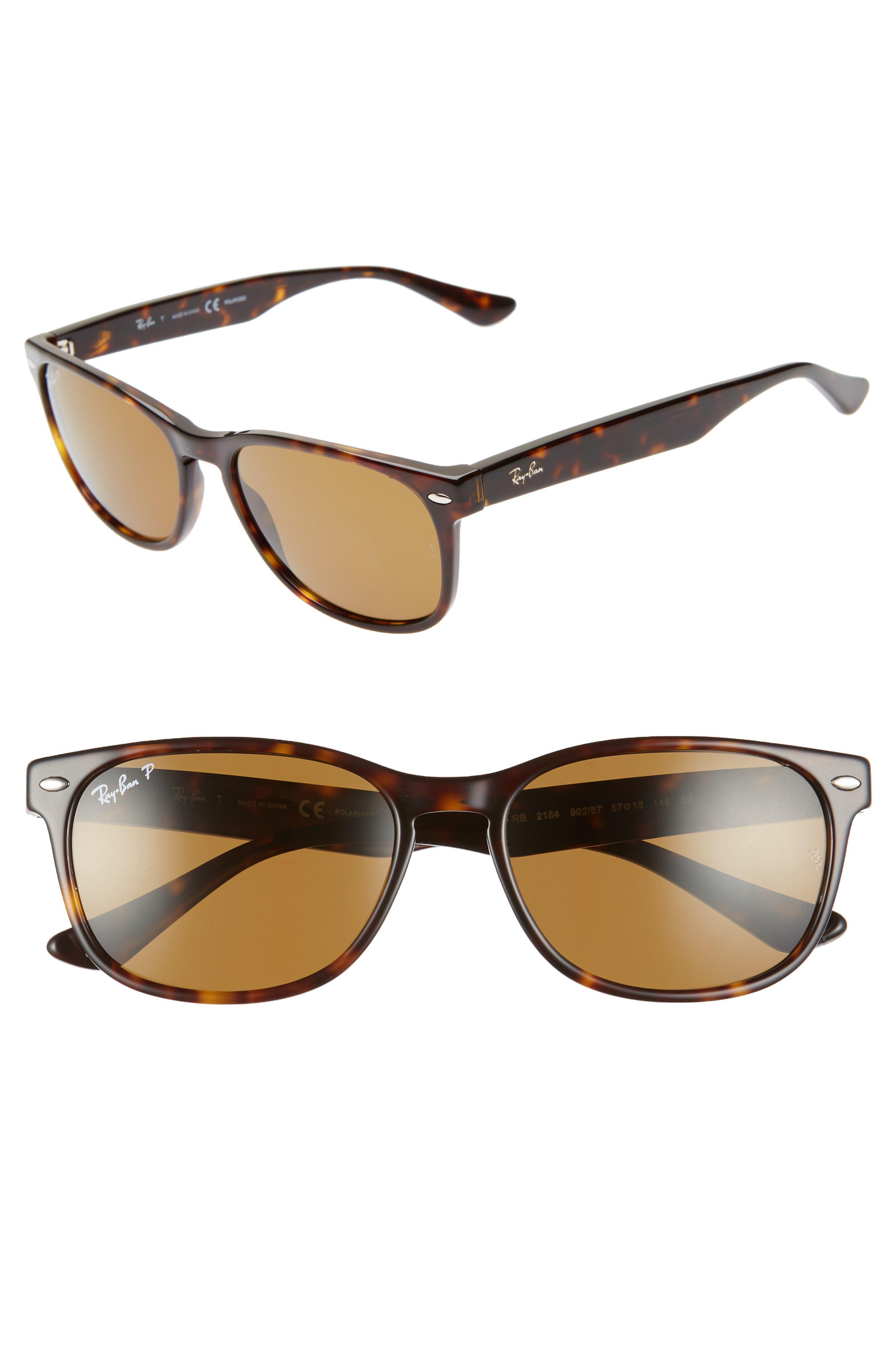 Ray-Ban Wayfarer 57Mm Polarized Sunglasses - Havana
