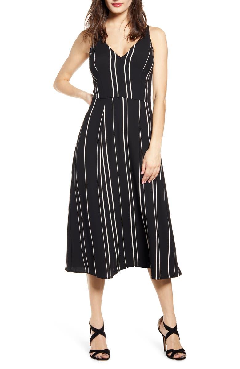 LOVE, NICKIE LEW Stripe A-Line Dress, Main, color, BLACK/ WHITE