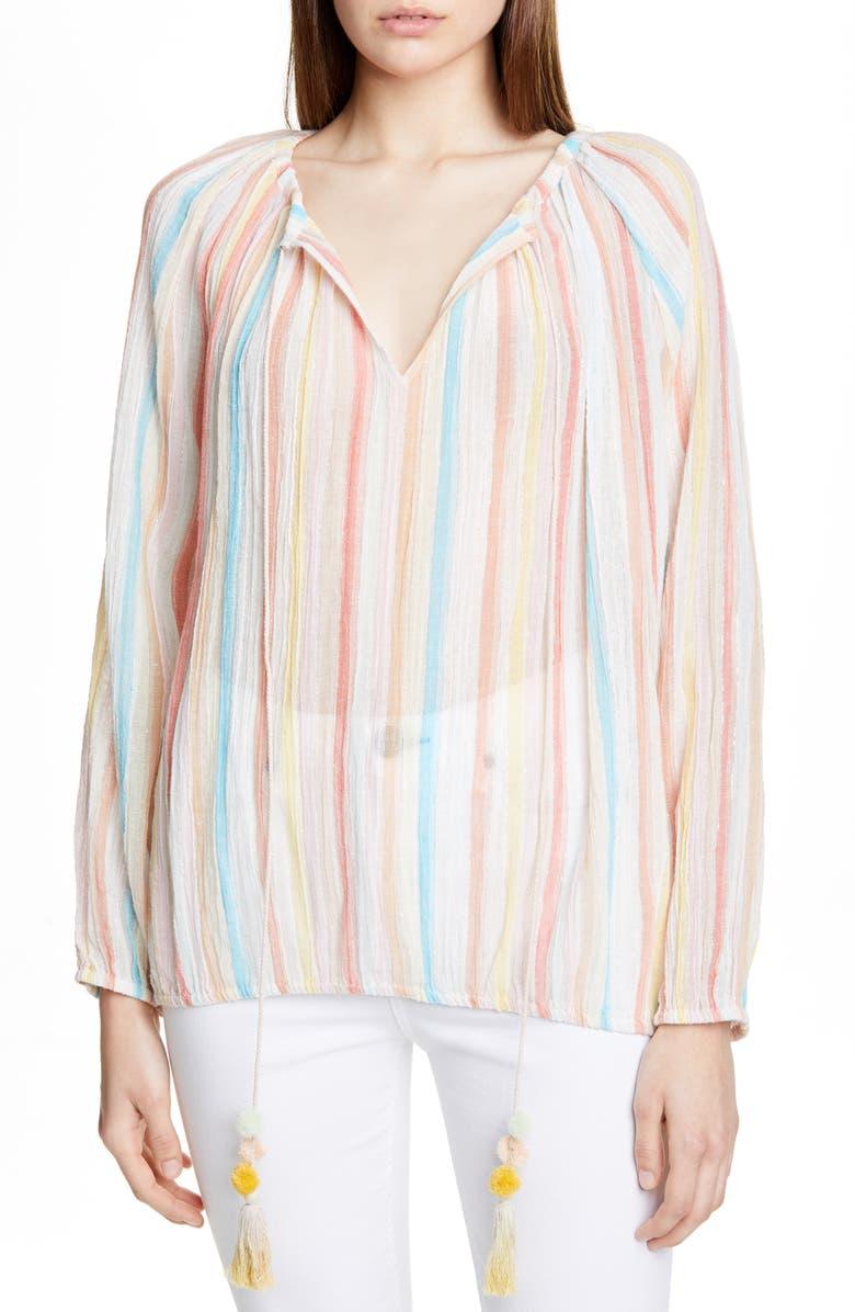 MES DEMOISELLES Rosita Pastel Stripe Metallic Detail Peasant Top, Main, color, 650