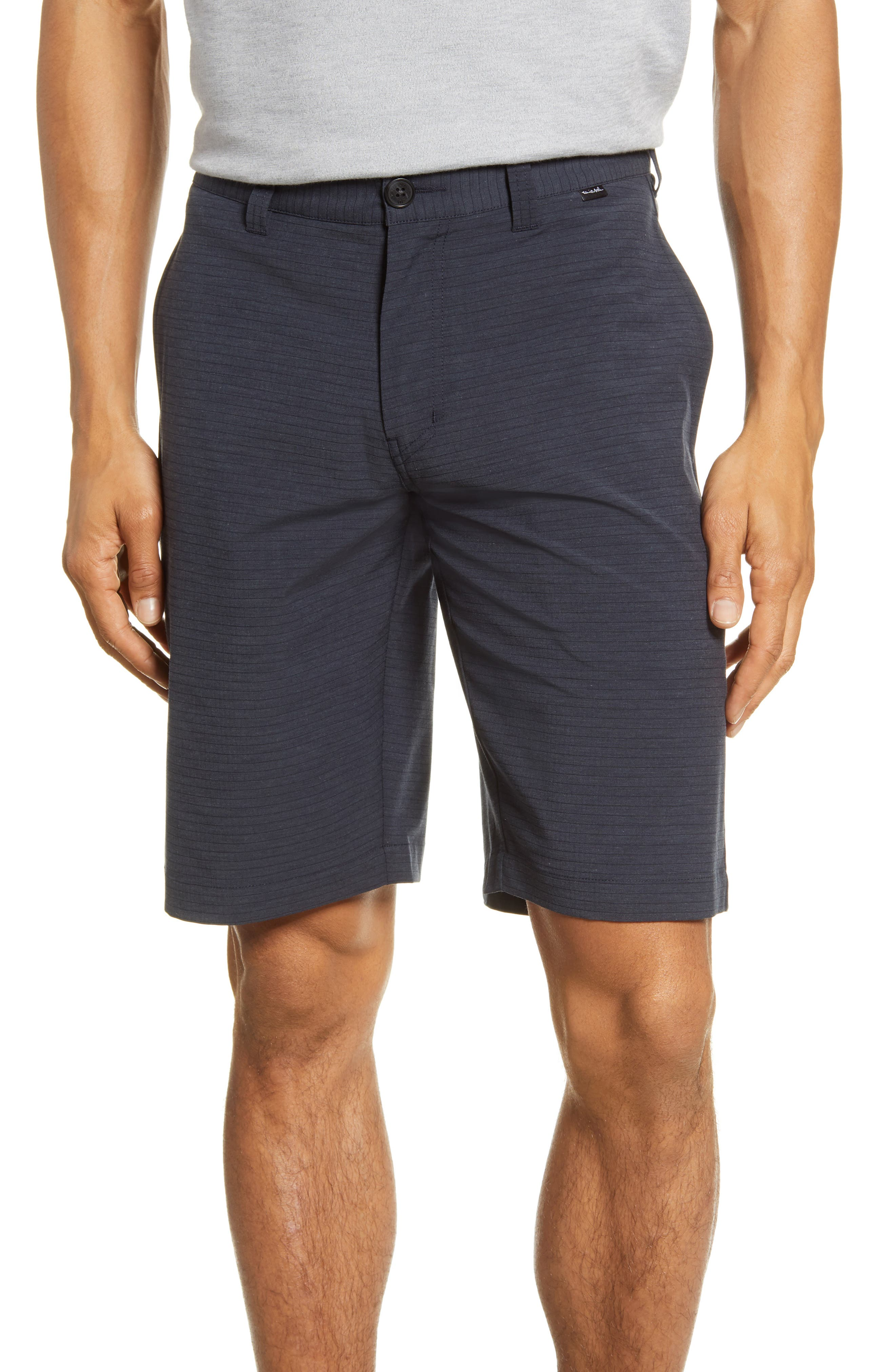 Slim stripes add to the laid-back style of stretchy, quick-dry flat-front shorts that look great at the golf course, the beach or any weekend get-together. Style Name: Travismathew Kendo Performance Shorts. Style Number: 5656912. Available in stores.