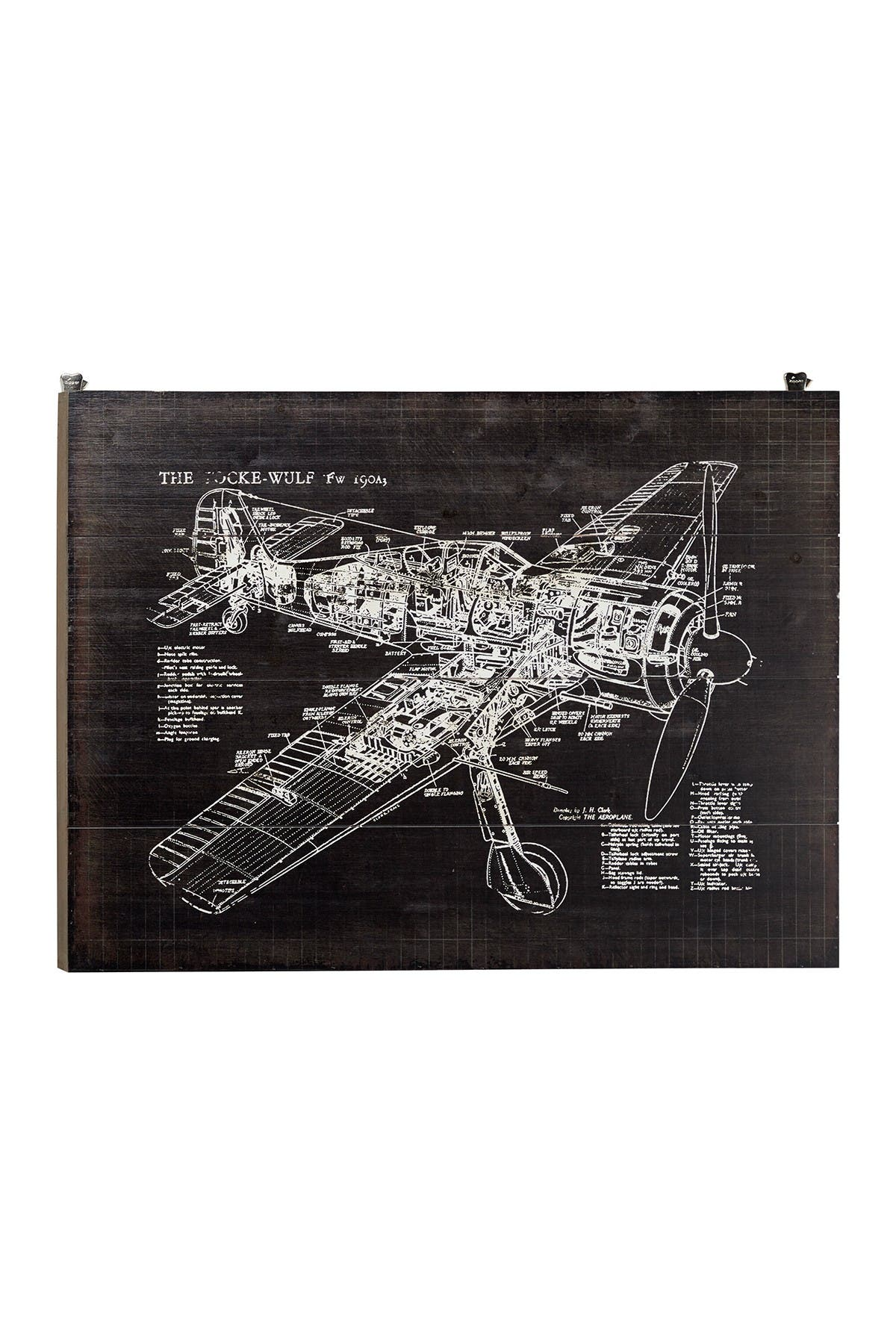 Willow Row Industrial Style Airplane Diagram Wood Wall Decor - 31.5\\\
