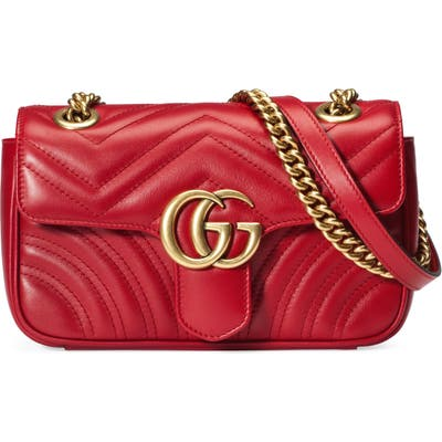 Gucci Mini Gg 2.0 Matelasse Leather Shoulder Bag - Red