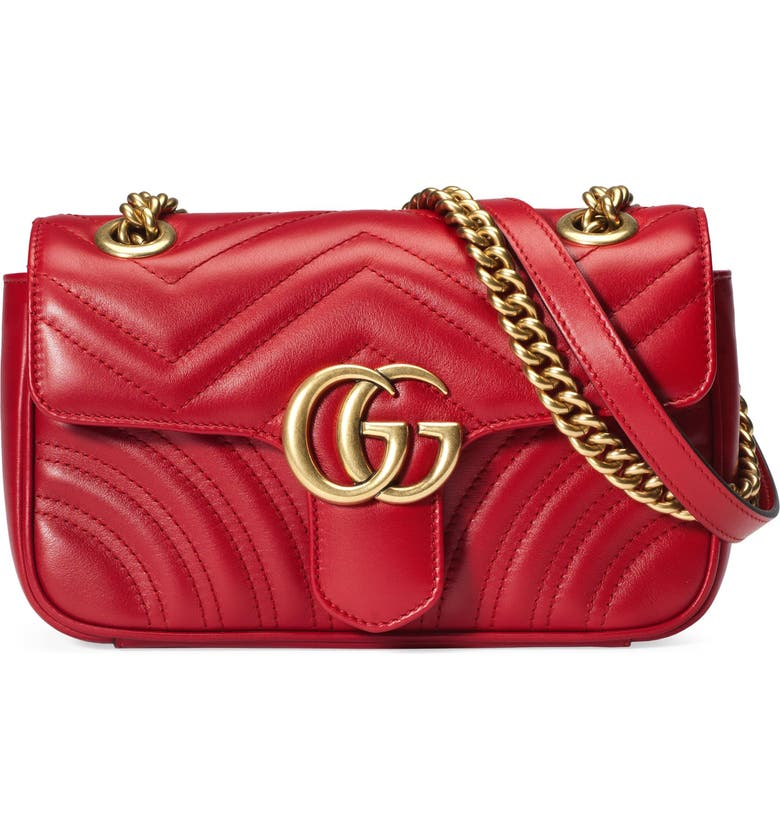 GUCCI Mini GG Marmont 2.0 Matelassé Leather Shoulder Bag, Main, color, HIBISCUS RED