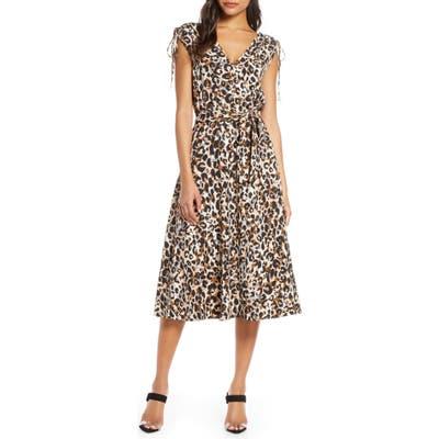 Julia Jordan Leopard Print Midi Dress, Brown