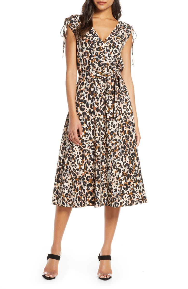 JULIA JORDAN Leopard Print Midi Dress, Main, color, TAN MULTI