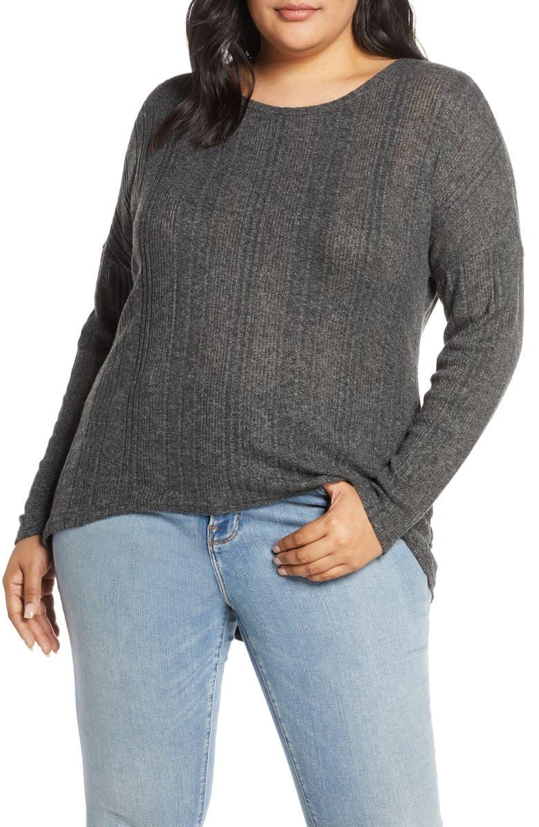 CASLON<SUP>®</SUP> Cozy Ribbed Top, Main, color, GREY H BLACK MARL