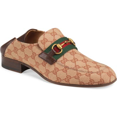 Gucci Horsebit Collapsible Leather Loafer, Brown