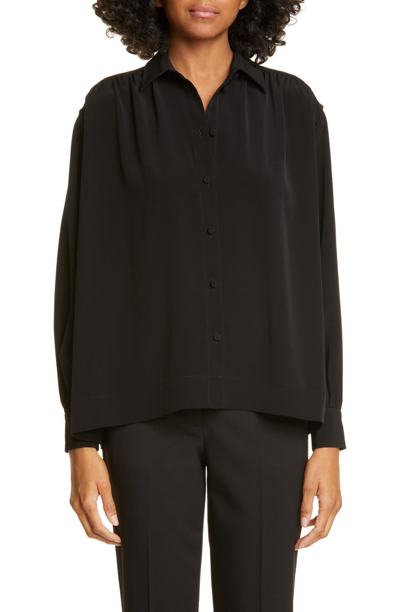 CO Gathered Yoke Puff Sleeve Blouse, Main, color, BLACK