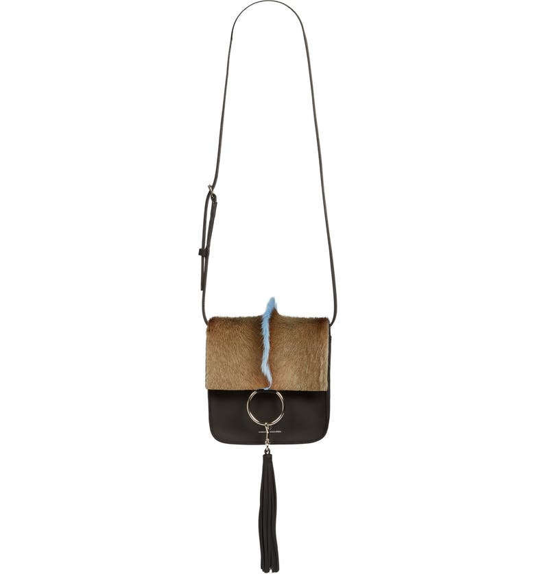 BROTHER VELLIES 'Palma' Springbok & Leather Crossbody Bag, Main, color, 001