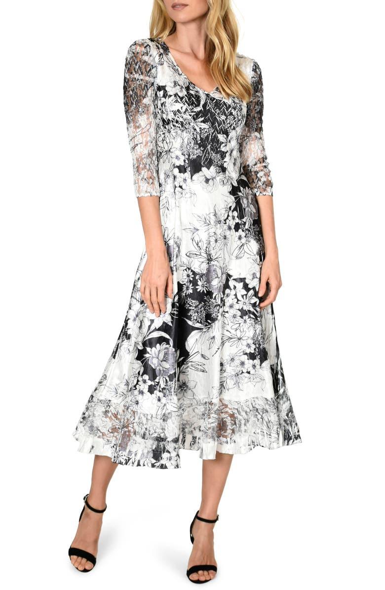 KOMAROV Charmeuse & Chiffon A-Line Dress, Main, color, DARLING DAISY