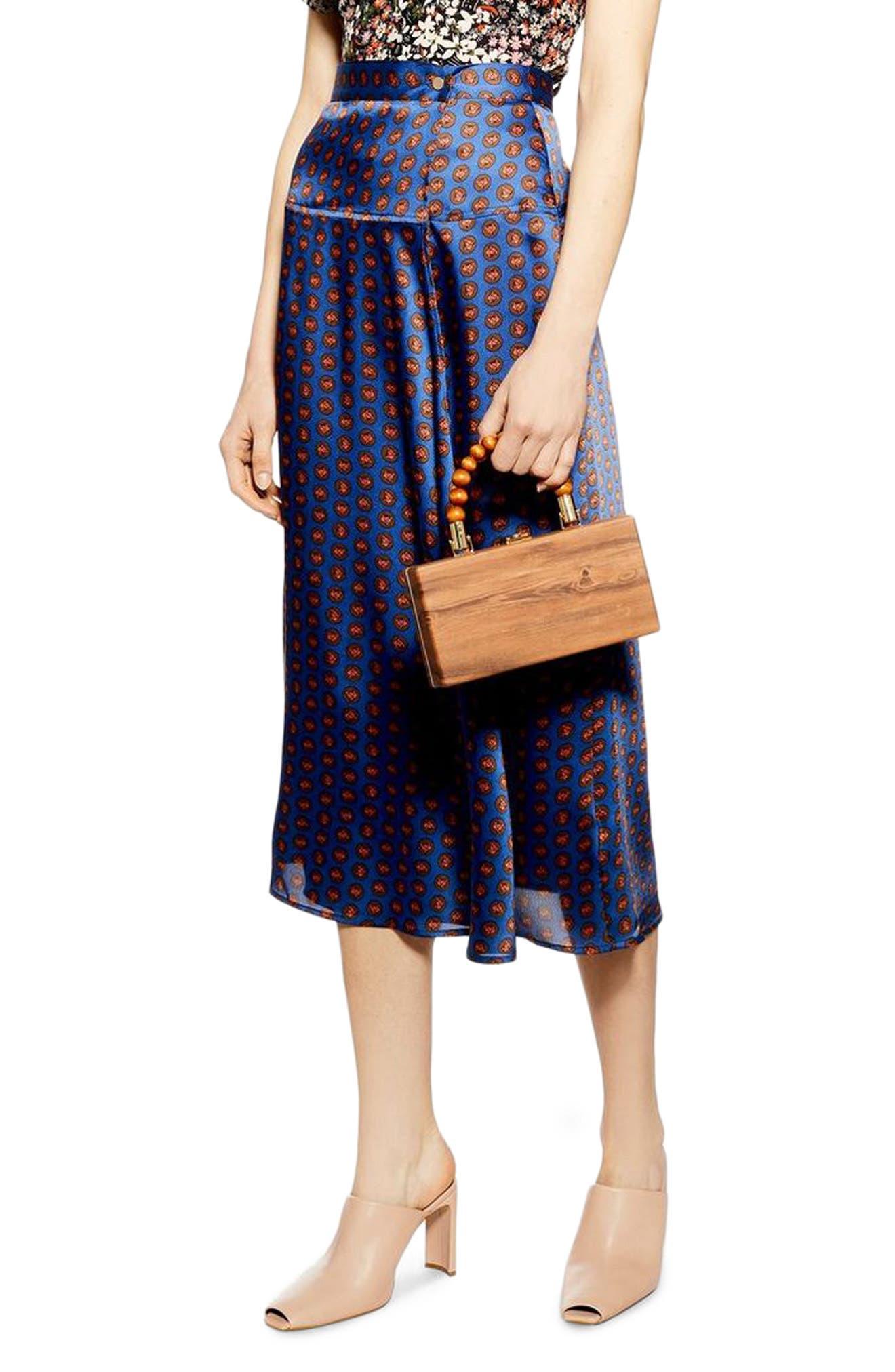,                             Satin Wrap Midi Skirt,                             Main thumbnail 1, color,                             NAVY BLUE MULTI