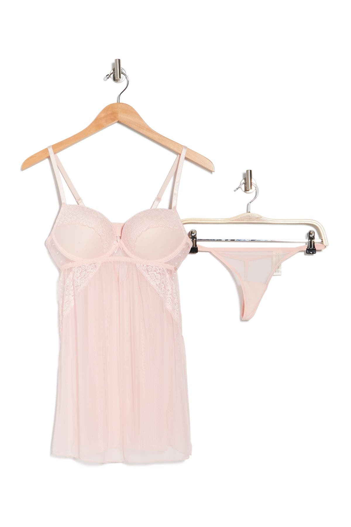 Image of Jessica Simpson Lace Mesh Babydoll & Thong 2-Piece Set