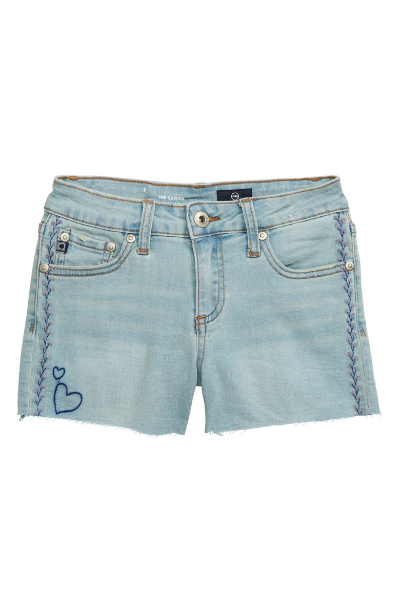 AG Embroidered Garden Denim Shorts, Main, color, BLUE CRUSH