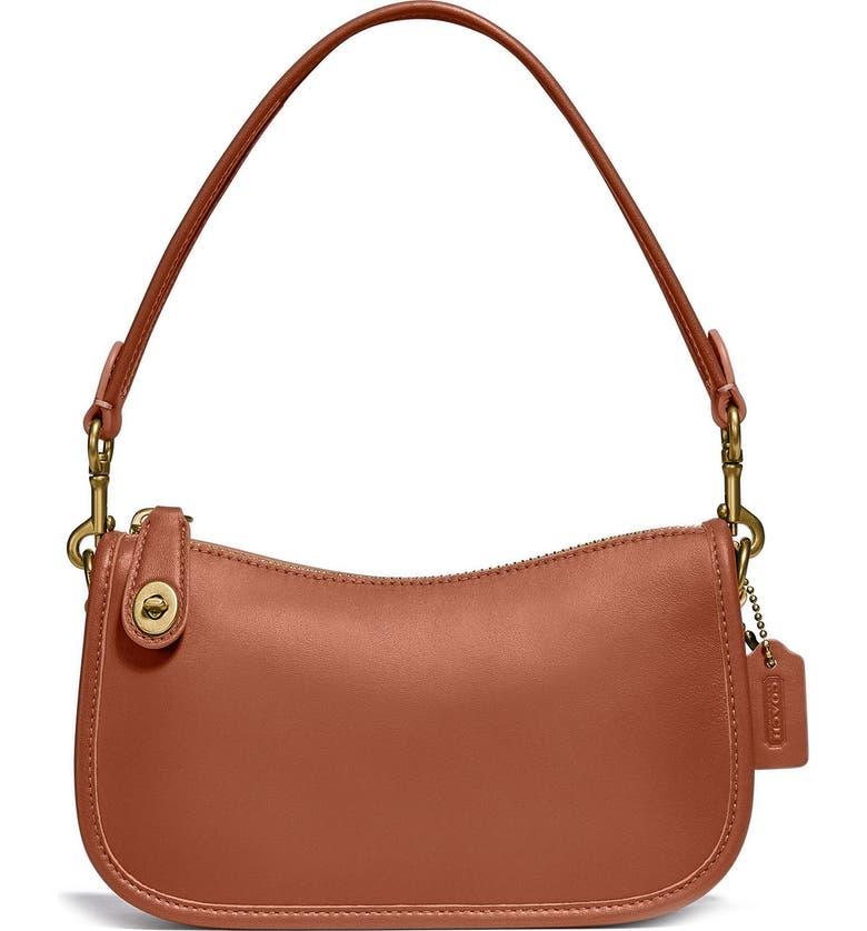COACH Swinger Glovetanned Leather Shoulder Bag, Main, color, BRASS/SADDLE