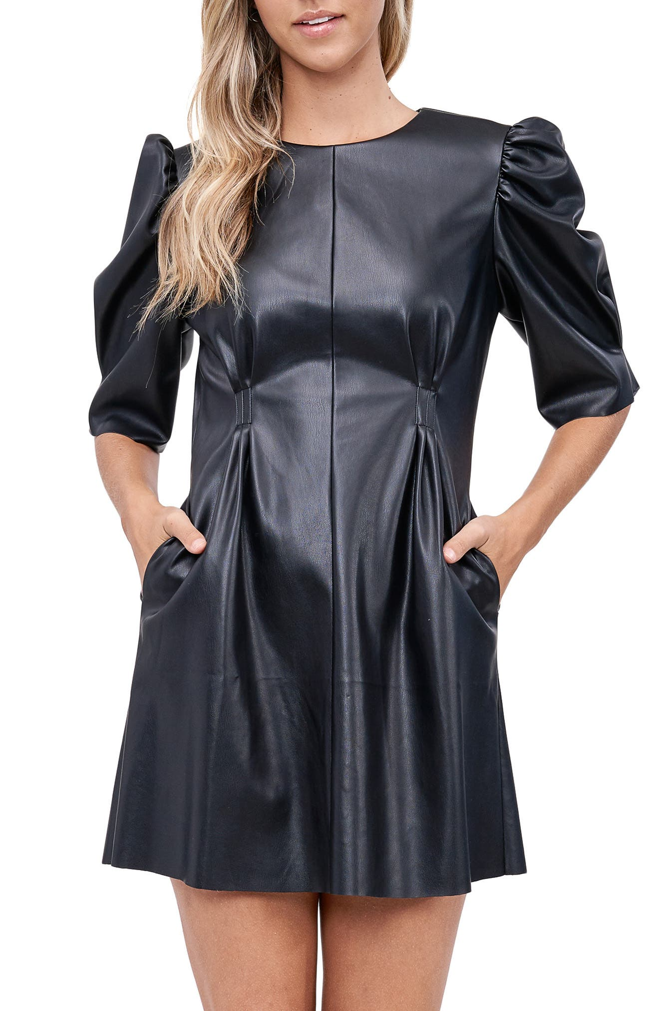 Puff Sleeve Faux Leather Minidress
