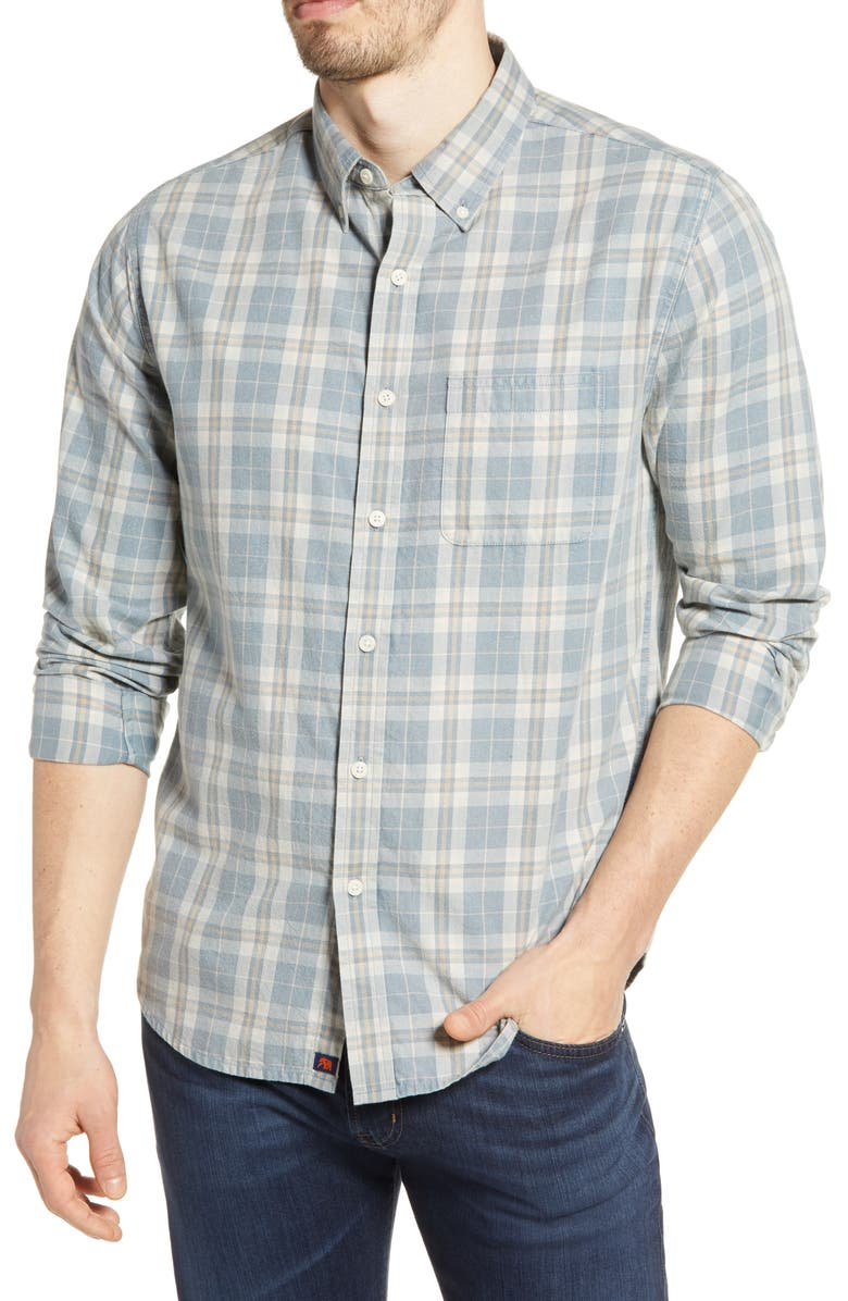 THE NORMAL BRAND Midcoast Regular Fit Buttondown Long Sleeve Sport Shirt, Main, color, BLUE PLAID
