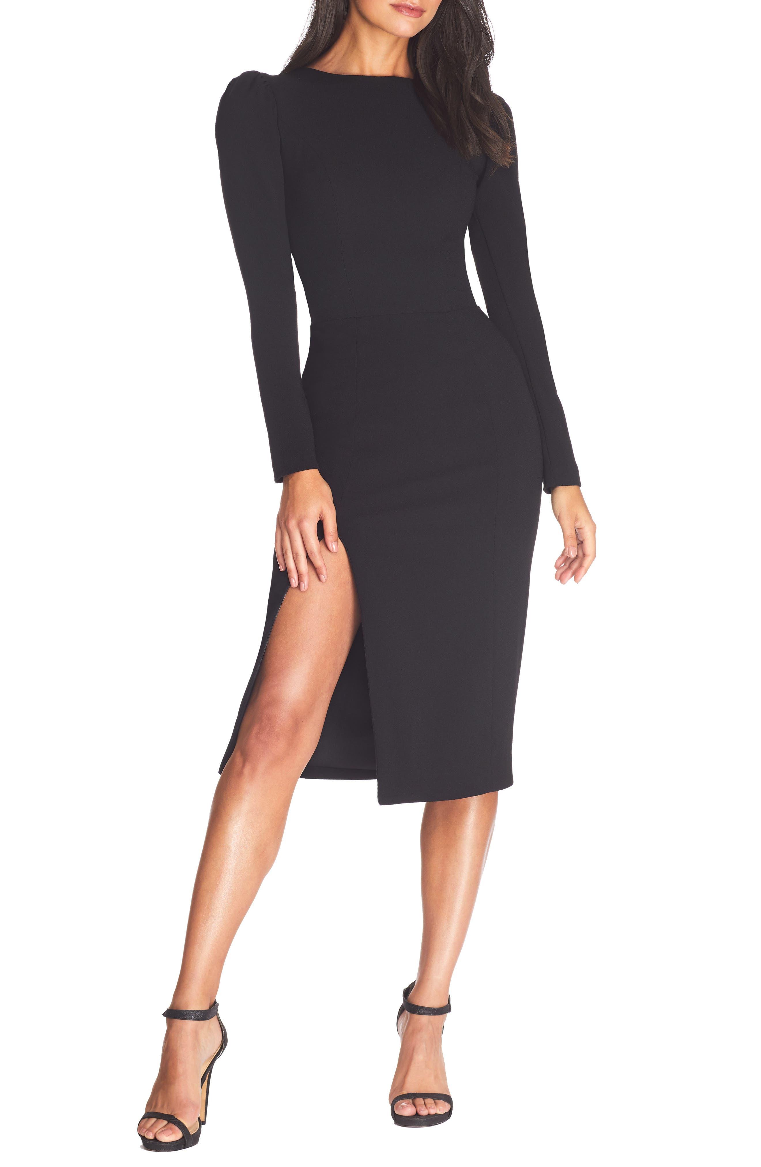 Dress the Population Nadia Long Sleeve Scoop Back Midi Dress   Nordstrom