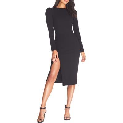 Dress The Population Nadia Long Sleeve Scoop Back Midi Dress, Black