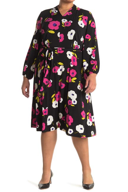 Image of London Times Floral Waist Tie Dress