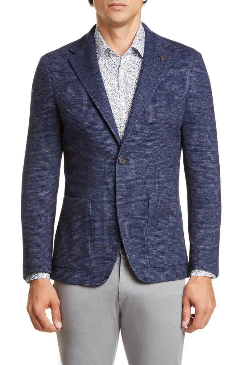 CANALI Classic Fit Plaid Cotton & Wool Knit Sport Coat, Main, color, BLUE
