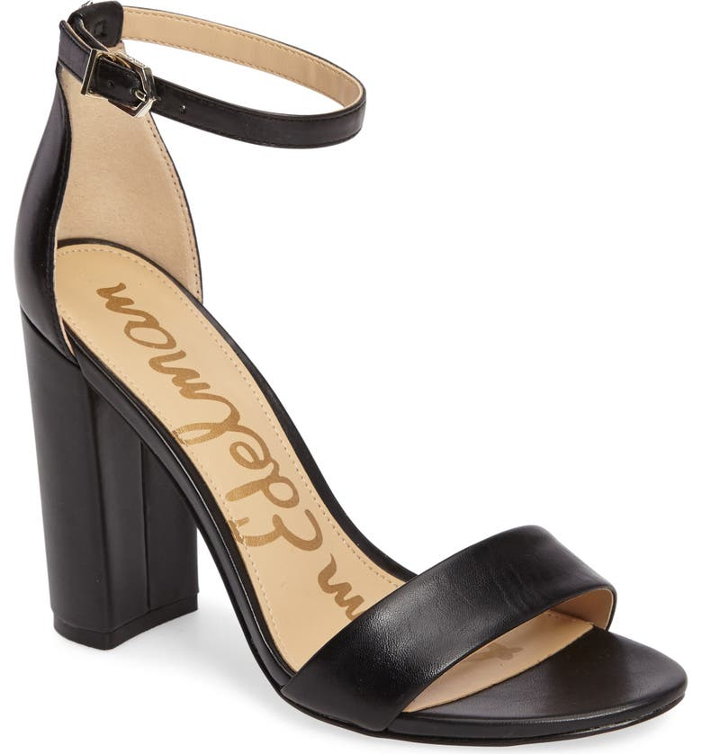 SAM EDELMAN Yaro Ankle Strap Sandal, Main, color, BLACK LEATHER