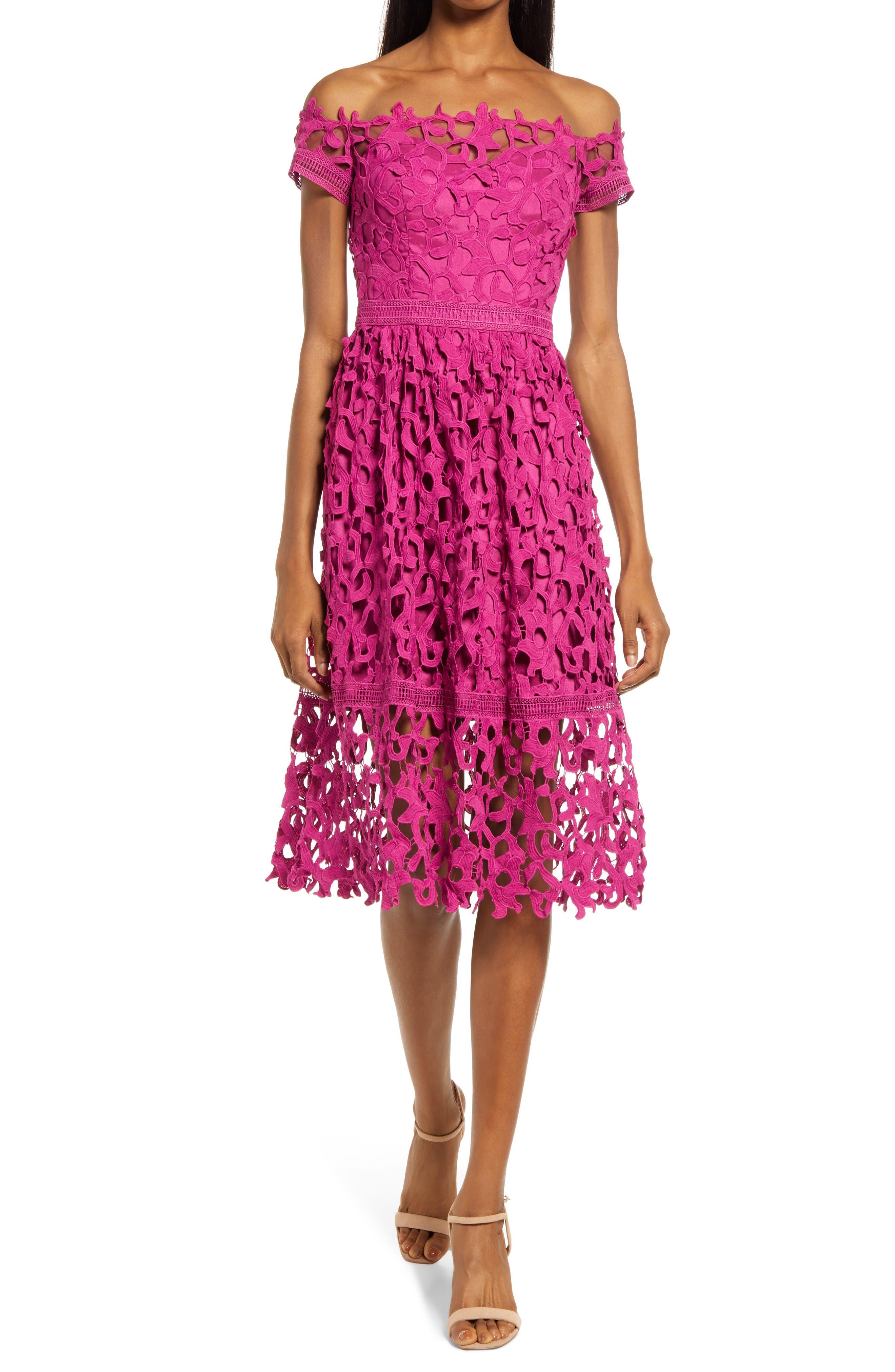 Bardot Off The Shoulder Crochet Lace Dress