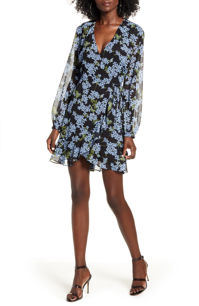 ALL IN FAVOR Brittany Wrap Minidress, Main, color, Black-Blue Floral