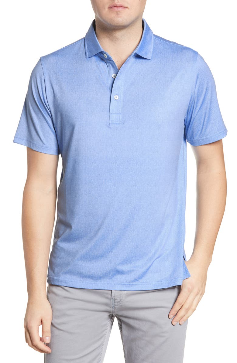 BUGATCHI Performance Stretch Polo Shirt, Main, color, WASHED BLUE