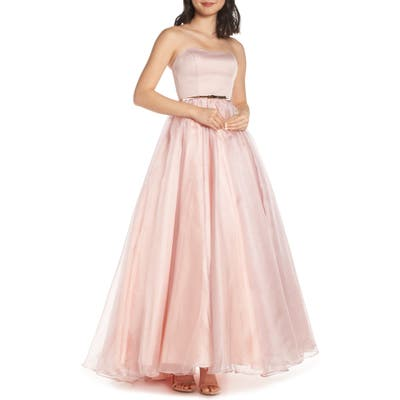 MAC Duggal Strapless Belted Evening Dress, Pink