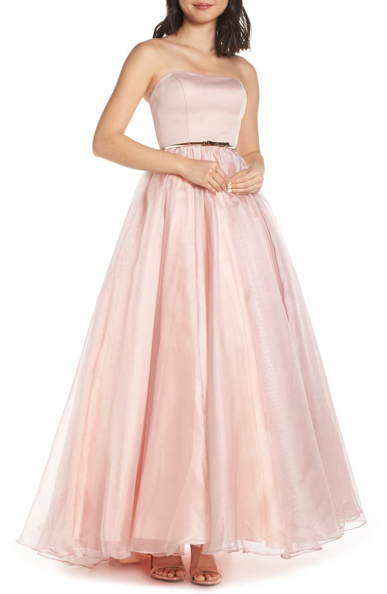 MAC DUGGAL Strapless Belted Evening Dress, Main, color, ROSE PINK