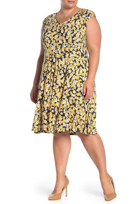 Image of London Times Floral Jersey Fit & Flare Dress